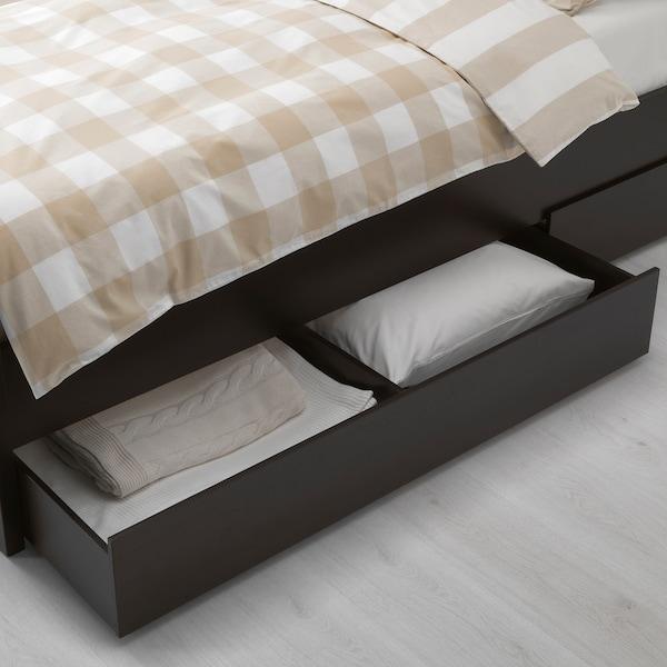 HEMNES bed frame with 2 storage boxes black-brown/Luröy 211 cm 104 cm 66 cm 112 cm 200 cm 90 cm