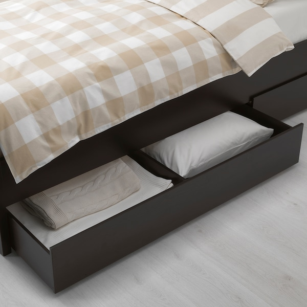 HEMNES Bed frame with 4 storage boxes, black-brown/Lönset, 180x200 cm