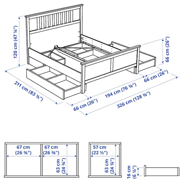 HEMNES Bed frame with 4 storage boxes, grey stained/Lönset, 180x200 cm