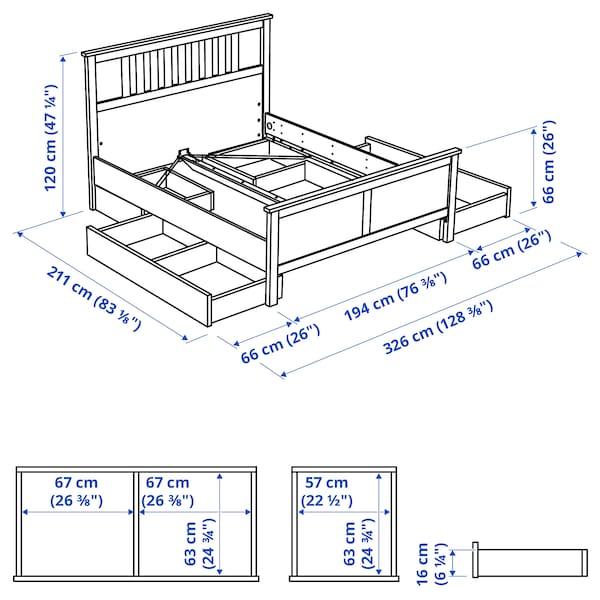 HEMNES Bed frame with 4 storage boxes, white stain/Leirsund, 180x200 cm