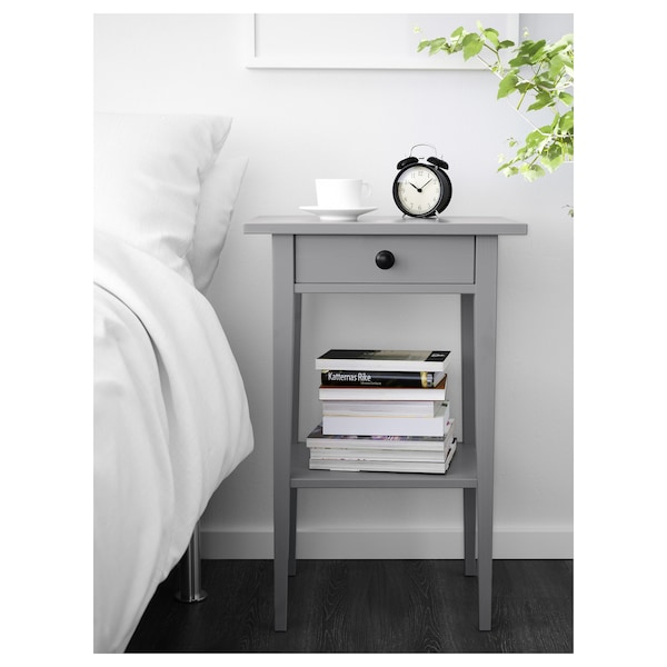 HEMNES Bedside table, grey stained, 46x35 cm