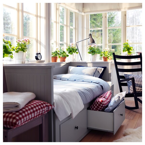 HEMNES day-bed frame with 3 drawers grey 18 cm 209 cm 89 cm 83 cm 55 cm 70 cm 168 cm 202 cm 200 cm 80 cm