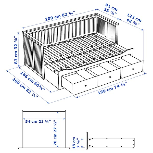 HEMNES Day-bed w 3 drawers/2 mattresses, grey/Moshult firm, 80x200 cm