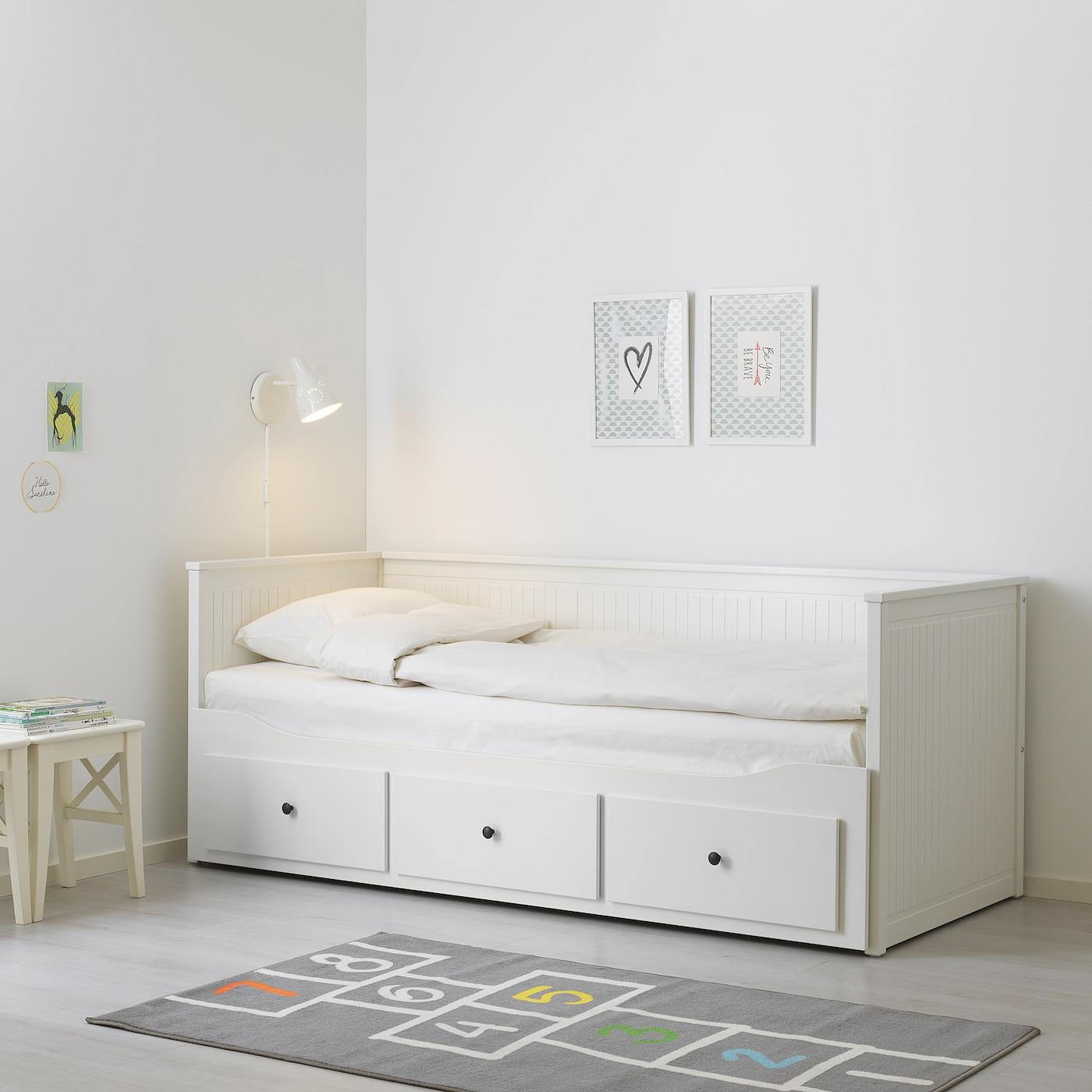 Ikea Tweepersoons Bedbank.Hemnes Day Bed W 3 Drawers 2 Mattresses White Husvika Firm Ikea