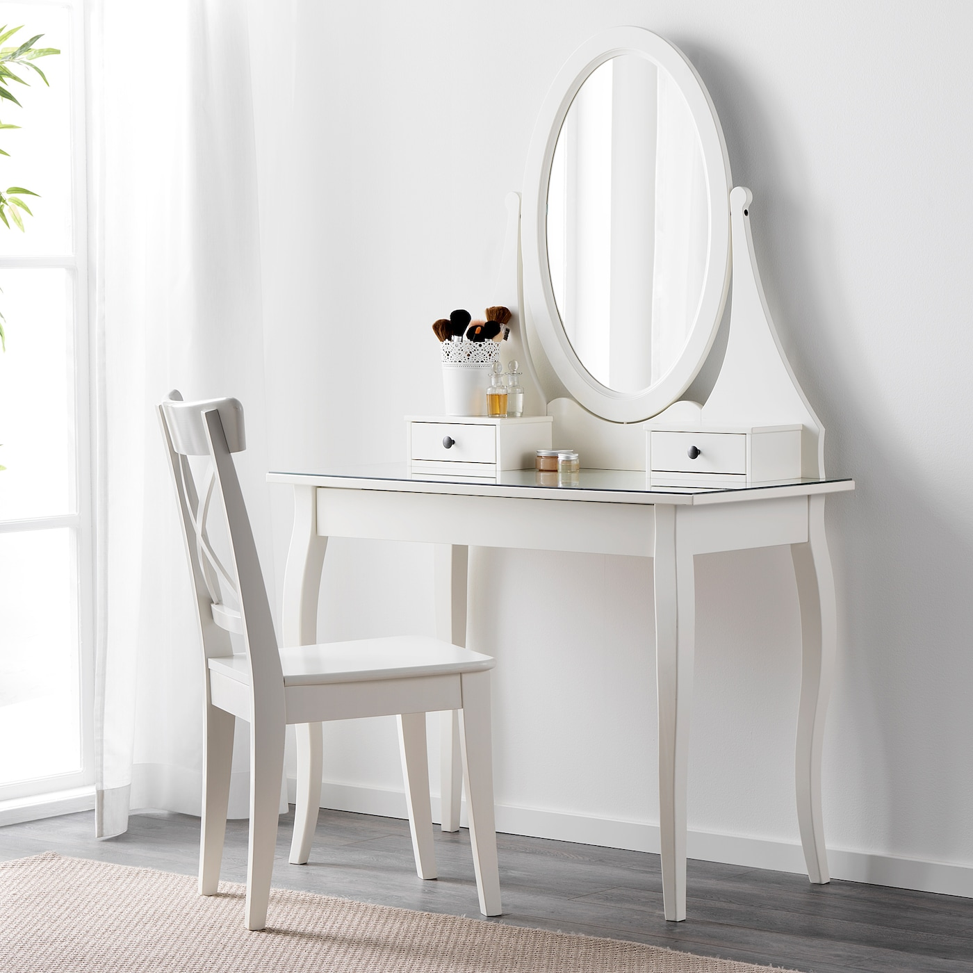 Hemnes Dressing Table With Mirror White 100x50 Cm Ikea