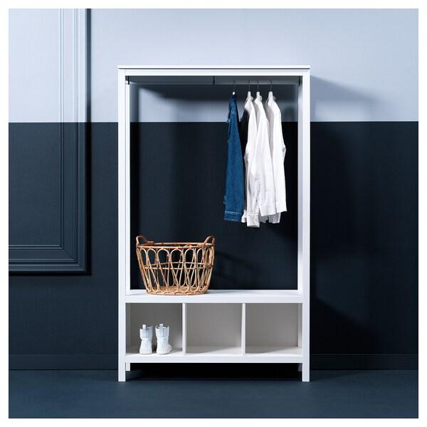 HEMNES Open wardrobe, white stained, 120x50x197 cm