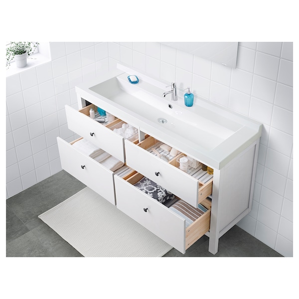 HEMNES / SKOTTVIKEN Wash-stand with 4 drawers, white, 121x48x89 cm