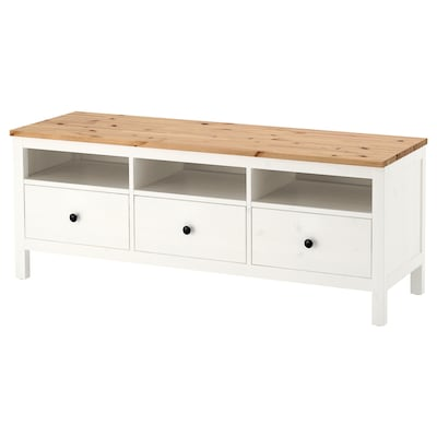 HEMNES TV bench, white stain/light brown, 148x47x57 cm