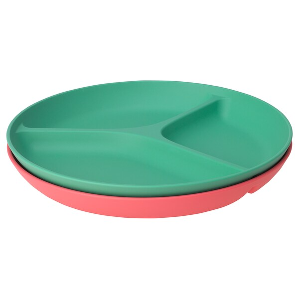 HEROISK Plate with 3 compartments, light red/green, 22 cm