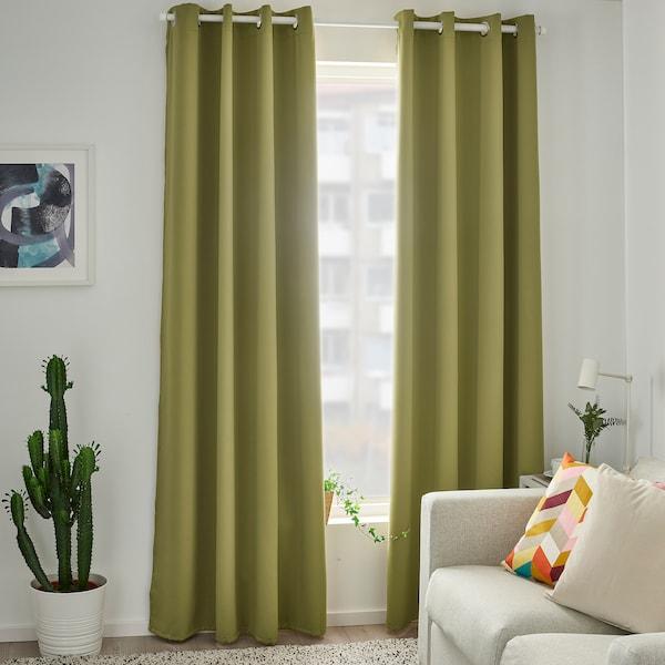 HILLEBORG Room darkening curtains, 1 pair, light olive-green, 145x300 cm