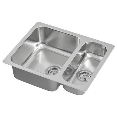 HILLESJÖN inset sink 1 1/2 bowl stainless steel 44.0 cm 56.0 cm 18.0 cm 33.0 cm 40.0 cm 18.0 l 12.0 cm 16.0 cm 40.0 cm 5.0 l 46.0 cm 58 cm 46 cm