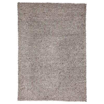 HJORTHEDE Rug, handmade/light grey, 160x230 cm