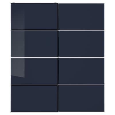 HOKKSUND Pair of sliding doors, high-gloss black-blue, 200x236 cm