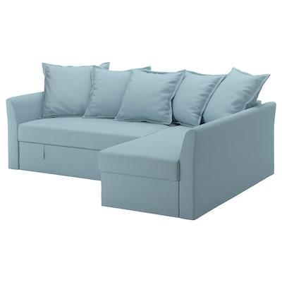 HOLMSUND corner sofa-bed Orrsta light blue 96 cm 66 cm 151 cm 230 cm 90 cm 120 cm 60 cm 44 cm 140 cm 204 cm