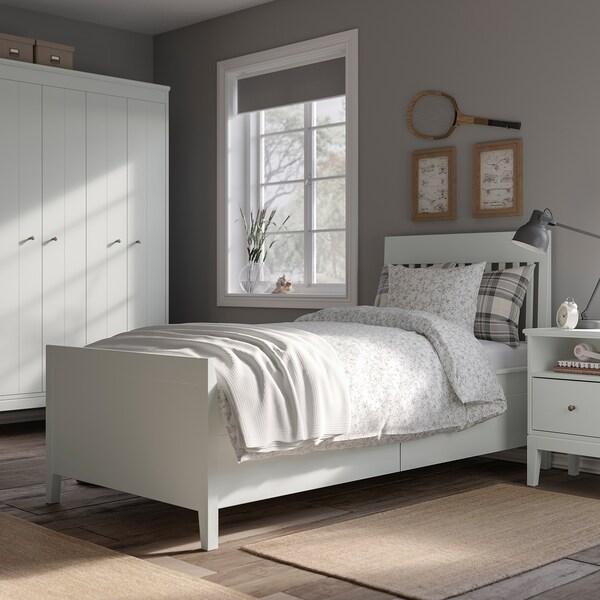 IDANÄS Bed frame with storage, white/Luröy, 90x200 cm