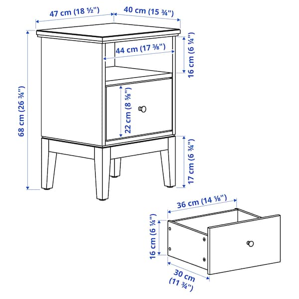 IDANÄS Bedside table, white, 47x40 cm