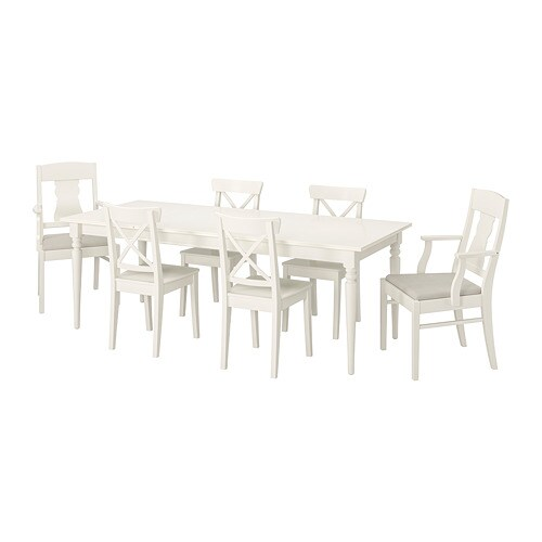 Ingatorp Ingolf Table And 6 Chairs White Nordvalla Beige