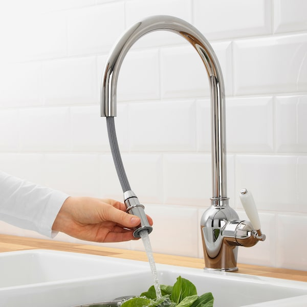 INSJÖN Kitchen mixer tap w pull-out spout, chrome-plated