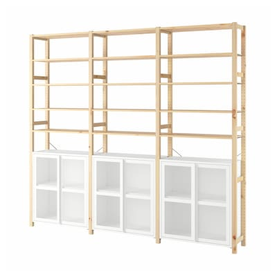 IVAR 3 sections/cabinet/shelves, pine/white mesh, 259x30x226 cm