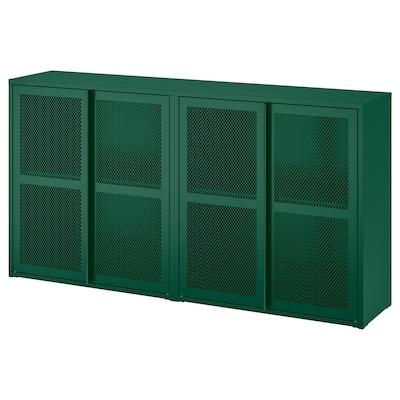 IVAR Cabinet with doors, green mesh, 160x30x83 cm