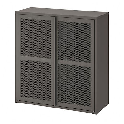 IVAR Cabinet with doors, grey mesh, 80x83 cm
