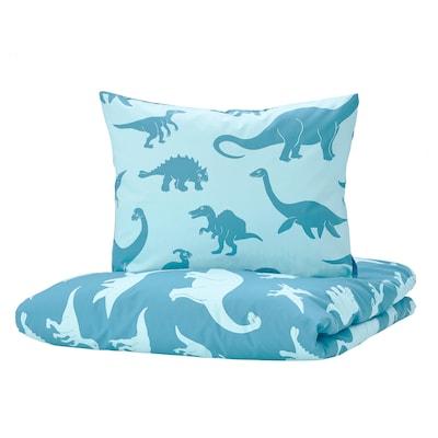 JÄTTELIK Quilt cover and pillowcase, dinosaur/blue, 140x200/60x70 cm