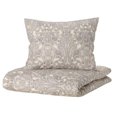 JÄTTEVALLMO Duvet cover and 2 pillowcases, beige/dark grey, 240x220/60x70 cm