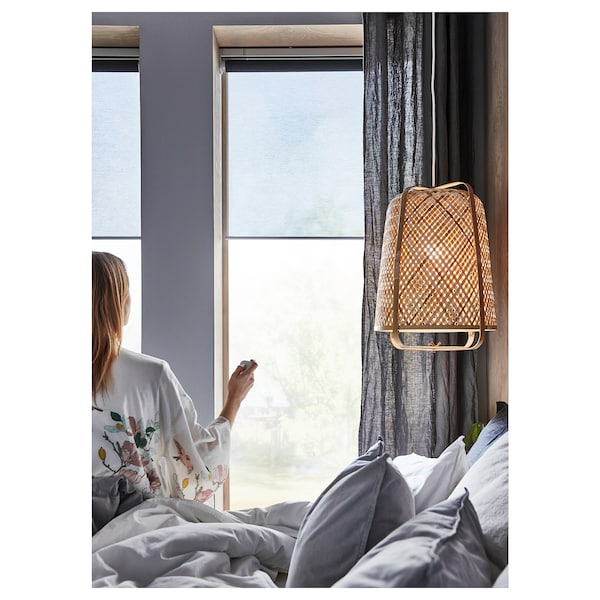 KADRILJ Roller blind, wireless/battery-operated grey, 140x195 cm