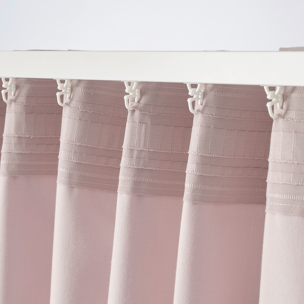 KALKFLY curtains, 1 pair light pink 300 cm 145 cm 1.82 kg 4.35 m² 2 pack