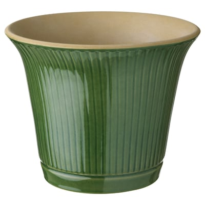 KAMOMILL Plant pot, in/outdoor green, 15 cm