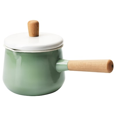 KASTRULL Saucepan with lid, green, 1.5 l