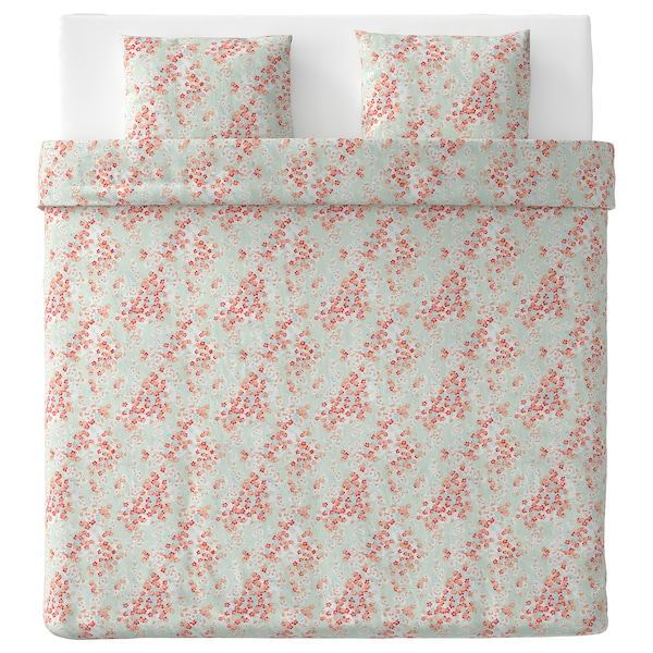 KLIBBGLIM Quilt cover and 2 pillowcases, multicolour/floral patterned, 240x220/60x70 cm