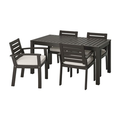 KLÖVEN Table+4 chairs w armrests, outdoor, black-brown/Järpön/Duvholmen white
