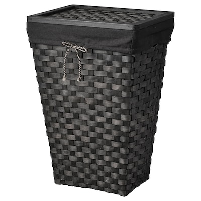 KNARRA Laundry basket with lining, black/brown