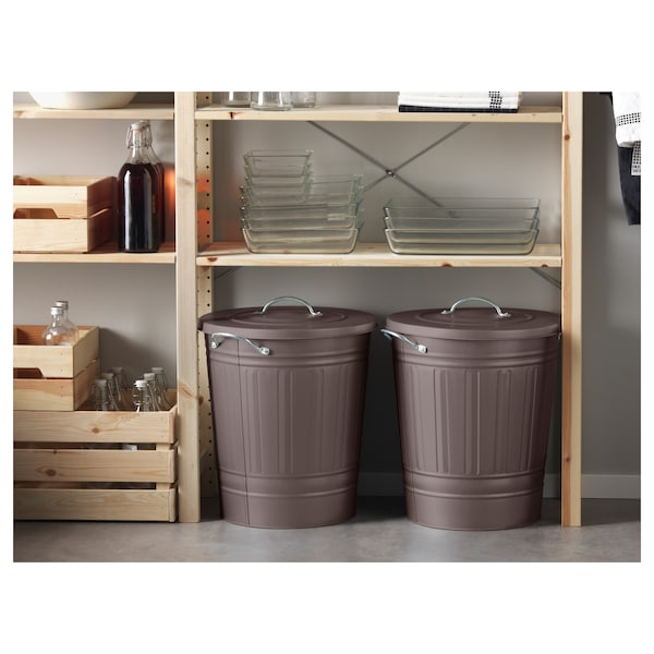 KNODD Bin with lid, grey, 40 l