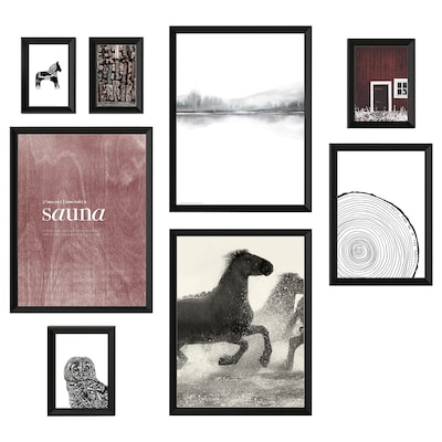 KNOPPÄNG frame with poster, set of 8 Nordic