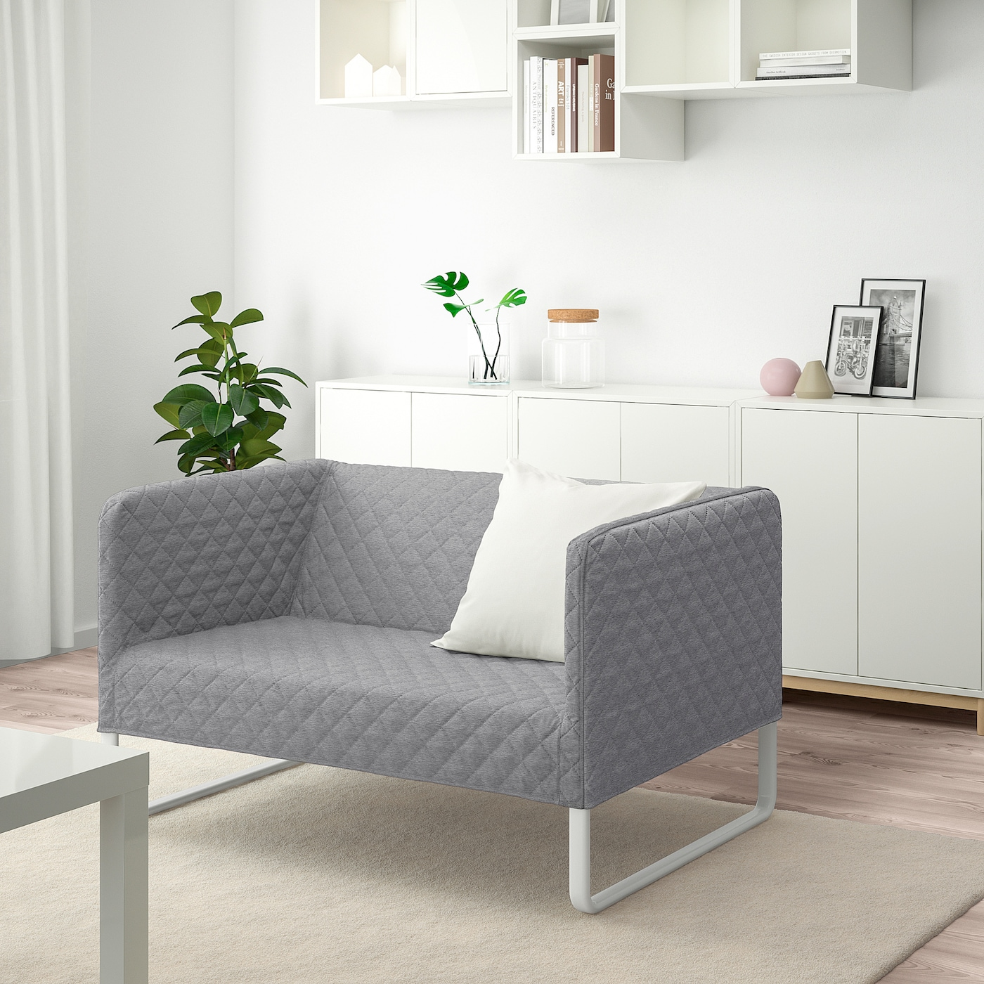 Bankhoes Ikea Bank.Knopparp 2 Seat Sofa Knisa Light Grey Ikea