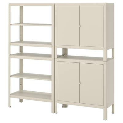 KOLBJÖRN Shelving unit with 2 cabinets, beige, 171x37 cm