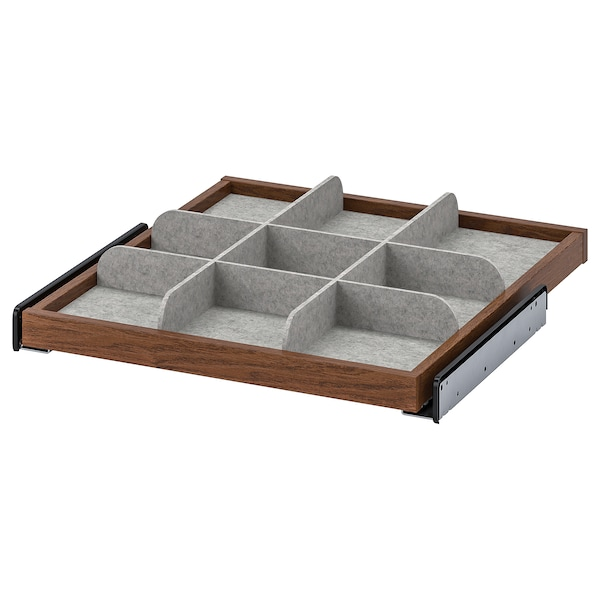 KOMPLEMENT Pull-out tray with divider, brown stained ash effect/light grey, 50x58 cm