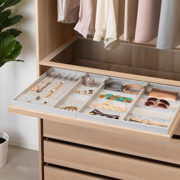 KOMPLEMENT Pull-out tray with insert, white stained oak effect, 100x58 cm