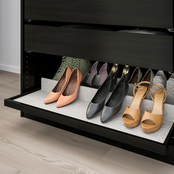 KOMPLEMENT Pull-out tray with shoe insert, black-brown/light grey, 100x58 cm