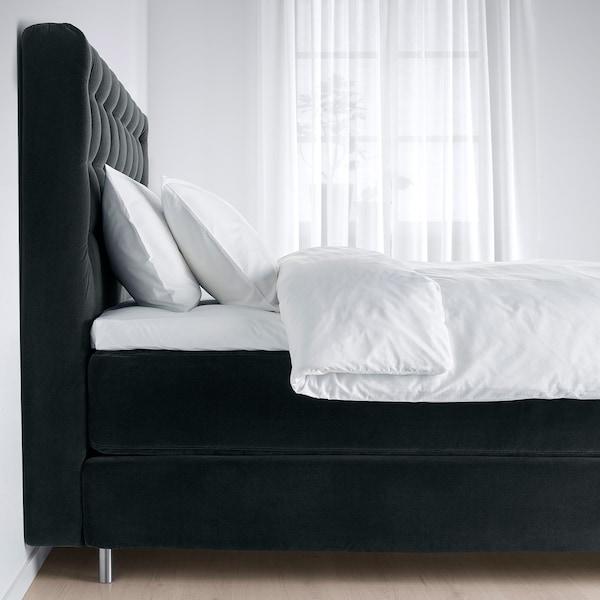 KONGSFJORD Divan bed, Hyllestad firm/Tustna Djuparp dark grey, 160x200 cm