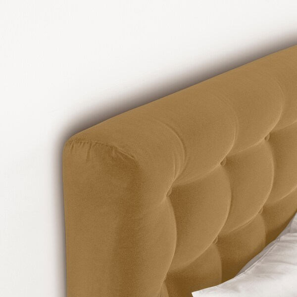 KONGSFJORD Divan bed, Hyllestad medium firm/Tustna Djuparp yellow-beige, 180x200 cm