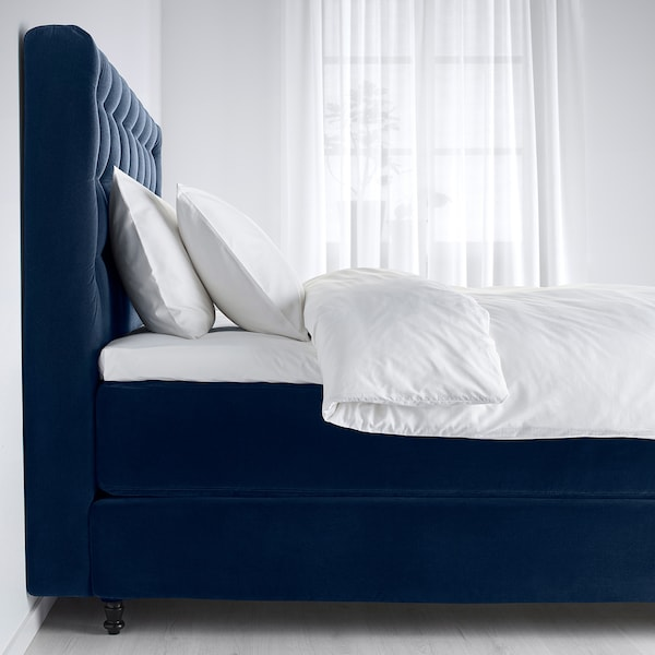 KONGSFJORD Divan bed, Vatneström medium firm/Tistedal Djuparp dark green-blue, 160x200 cm