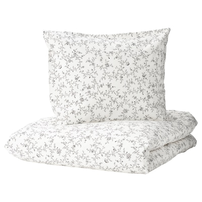 KOPPARRANKA Quilt cover and pillowcase, white/dark grey, 140x200/60x70 cm