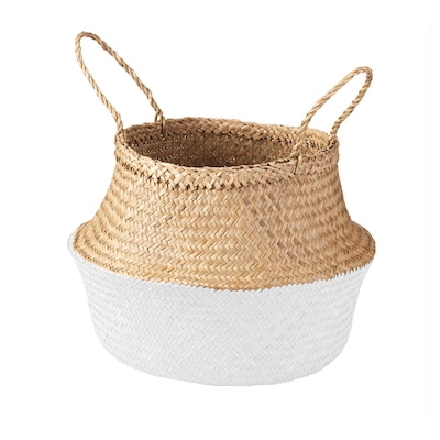 KRALLIG Basket, seagrass/white, 25 cm