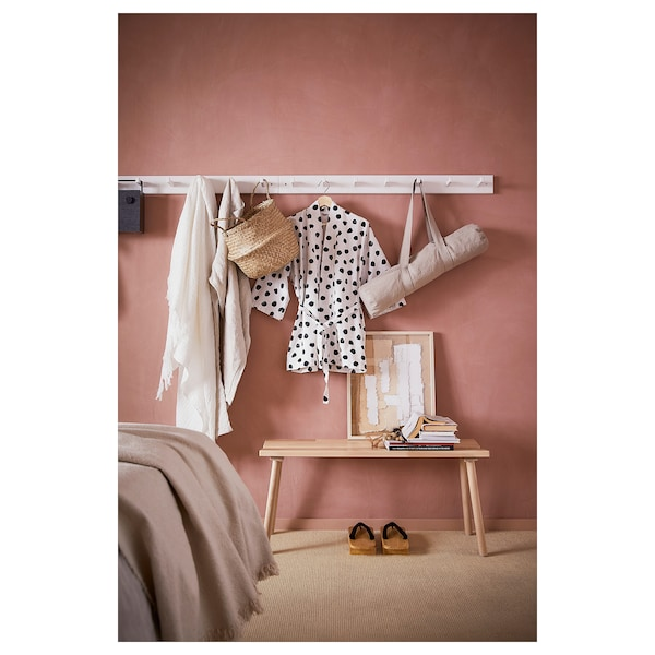 KUBBIS rack with 7 hooks white 105 cm 10 cm 9 cm