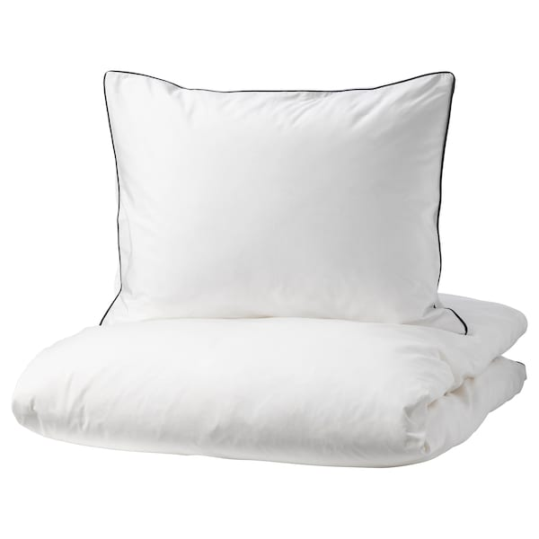 KUNGSBLOMMA Quilt cover and 2 pillowcases, white/grey, 200x200/60x70 cm
