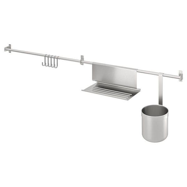 KUNGSFORS Rails w hooks, tblt stand+container, stainless steel, 112 cm