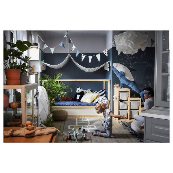 KURA Reversible bed, white/pine, 90x200 cm